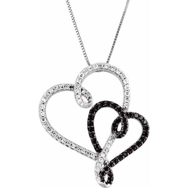 14K White & Black Rhodium Plated 1/2 CTW Black & White Diamond Double Heart 18