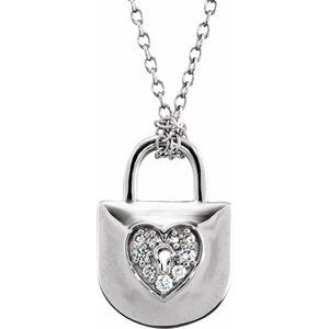 "Sterling Silver 1/10 CTW Diamond Heart Lock 18"" Necklace"