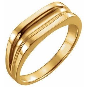 14K Yellow Men-s Grooved Ring