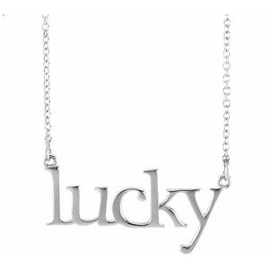 "14K White ""Lucky"" 16 1/2"" Necklace"