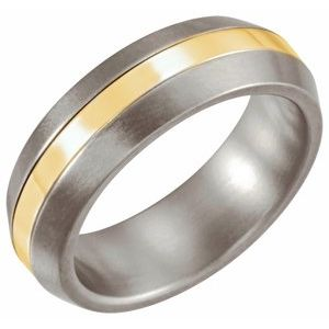 Titanium & 14K Yellow Inlay 6 mm Satin Finished Band Size 9
