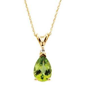 """14K Yellow 10x7 mm Pear Peridot & .04 CT Diamond 18"""" Necklace"""