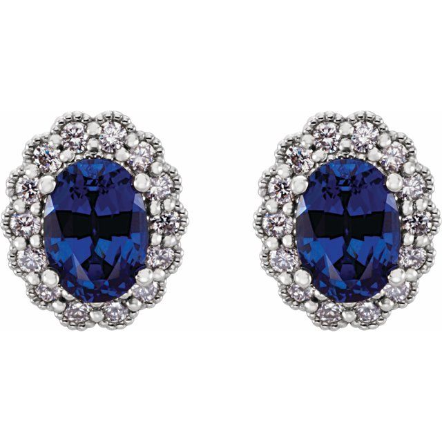14K White Lab-Grown Blue Sapphire & 1/3 CTW Diamond Earrings
