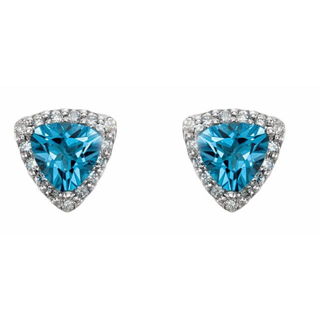 14K White Swiss Blue Topaz & .08 CTW Diamond Earrings