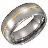 Tungsten 8.3 mm Rounded Band with 14K Yellow Inlay
