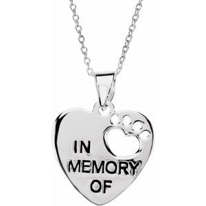"Sterling Silver Heart U Back™ In Memory 18"" Necklace"