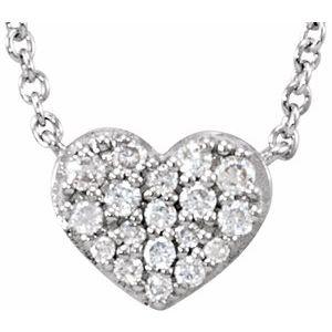 "14K White 1/10 CTW Diamond Heart 18"" Necklace"