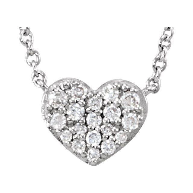 14K White 1/10 CTW Diamond Heart 18