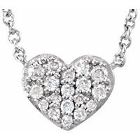Sterling Silver 1/10 CTW Diamond Heart 18