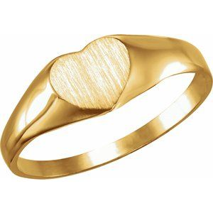 14K Yellow 6x6 mm Youth Heart Signet Ring
