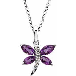 "14K White Amethyst & .02 CTW Diamond 18"" Necklace"