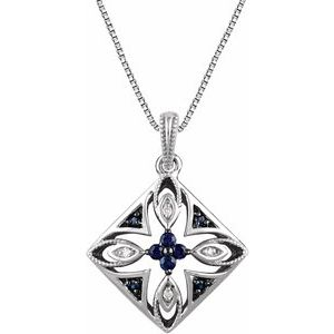 """Sterling Silver Blue Sapphire & .025 CTW Diamond 18"""" Necklace"""