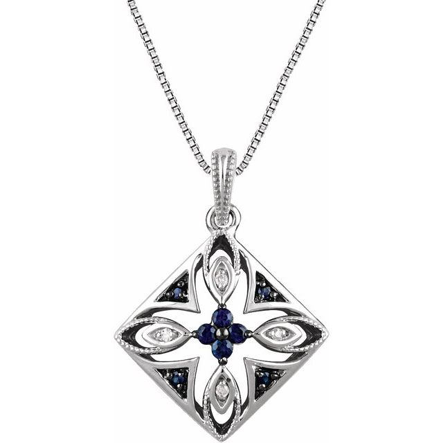Sterling Silver Natural Blue Sapphire & .025 CTW Natural Diamond 18