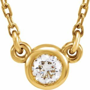 "14K Yellow 1/6 CT Diamond Solitaire 18"" Necklace"