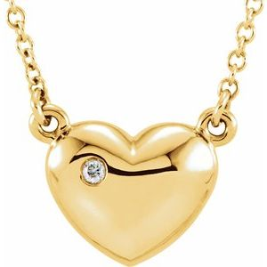"14K Yellow .01 CTW Diamond Heart 16.5"" Necklace"