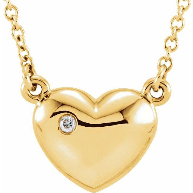 14K Yellow .01 CTW Diamond Heart 16.5