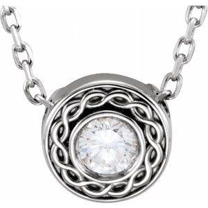 "14K White 1/10 CTW Diamond Slide 16"" Necklace"