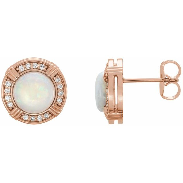 14K Rose Opal & 1/8 CTW Diamond Earrings