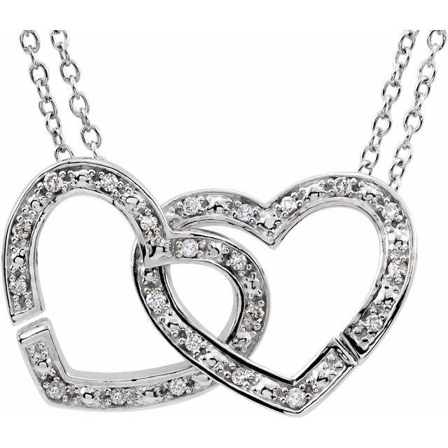 Sterling Silver 1/6 CTW Diamond 2-in-1 Interlocking Heart 18