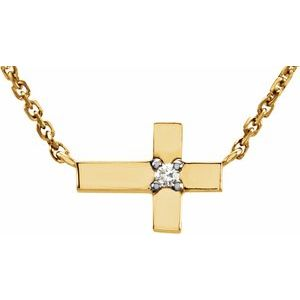 "14K Yellow .01 CTW Diamond Cross 18"" Necklace"