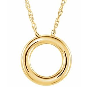 """14K Yellow 13 mm Circle 18"""" Necklace"""