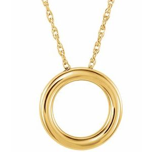 """14K Yellow 15 mm Circle 18"""" Necklace"""
