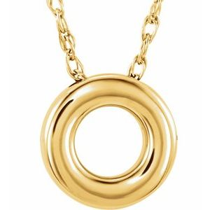 """14K Yellow 10 mm Circle 18"""" Necklace"""