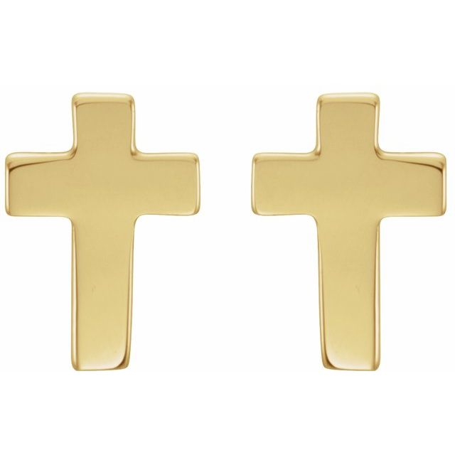 14K Yellow 7x5 mm Cross Earrings