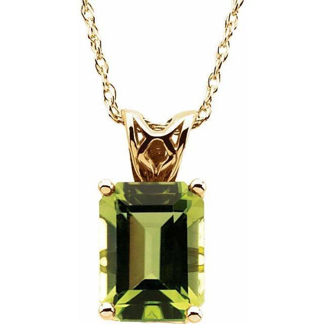 14K Yellow 8x6 mm Emerald Peridot Solitaire 18