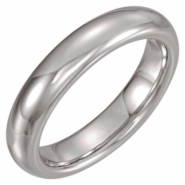 White Tungsten 4 mm Half Round Band Size 7