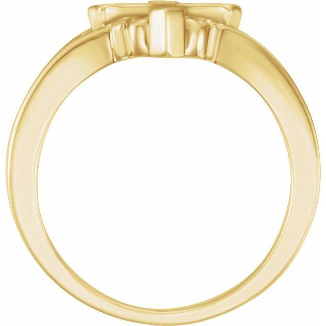 14K Yellow 13 mm Cross Ring