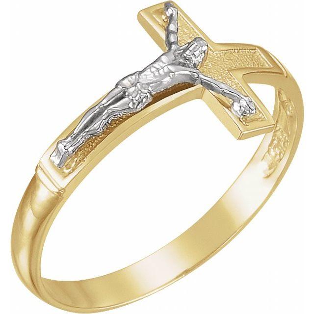 14K Yellow/White Crucifix Ring Size 10