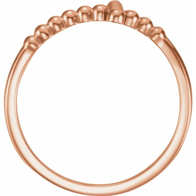 14K Rose Beaded Sideways Cross Ring