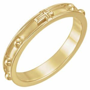 14K Yellow Rosary Ring Size 6