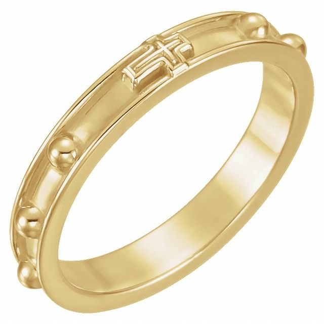 14K Yellow Rosary Ring Size 5