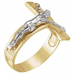 14K Yellow/White 20.2 mm Crucifix Ring