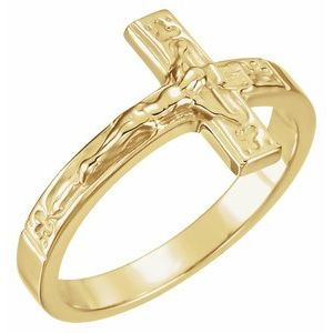14K Yellow 15 mm Crucifix Chastity Ring Size 8
