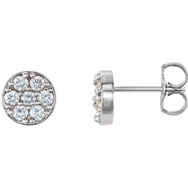 14K White 3/8 CTW Diamond Cluster Earrings