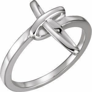 14K White Cross Ring