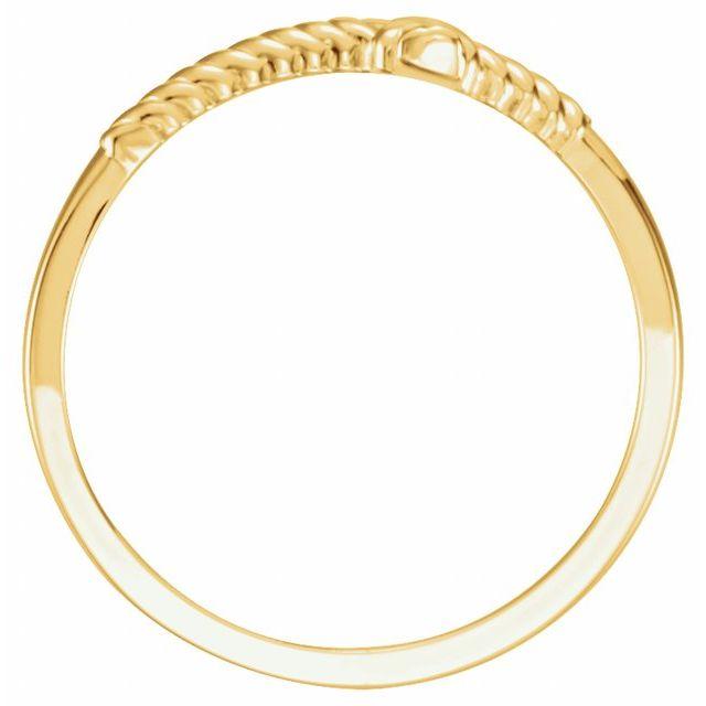 14K Yellow Rope Sideways Cross Ring