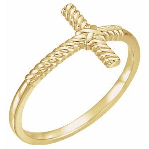 14K Yellow Rope Sideways Cross Ring