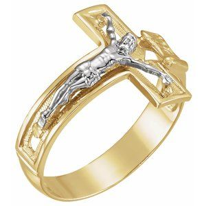 14K Yellow/White 16.7 mm Crucifix Ring