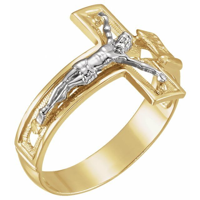 14K Yellow/White 16.7 mm Crucifix Ring