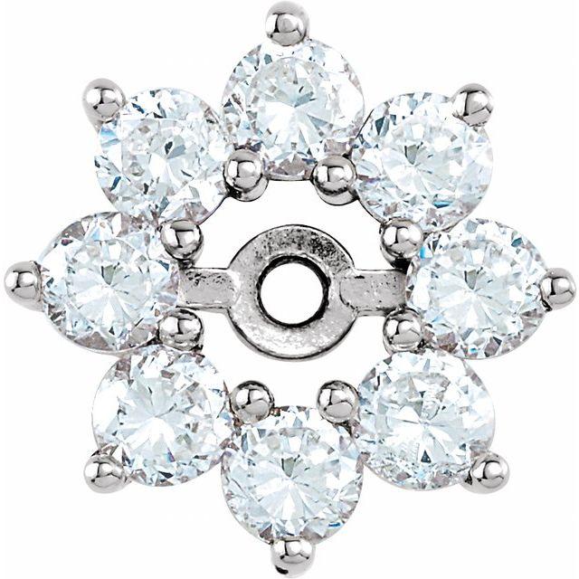 14K White 3/4 CTW Diamond Earring Jackets