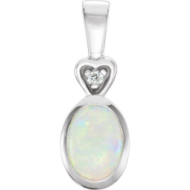 14K White Opal & .02 CTW Diamond Bezel-Set Pendant