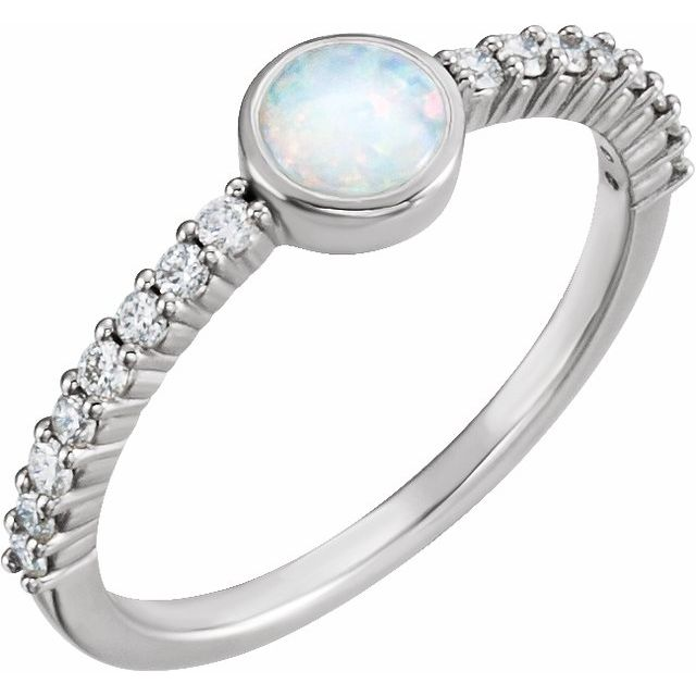 14K White Opal & 1/4 CTW Diamond Ring