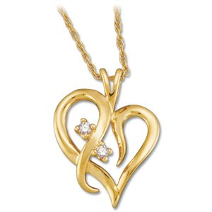 "14K Yellow .03 CTW Diamond Heart 18"" Necklace"