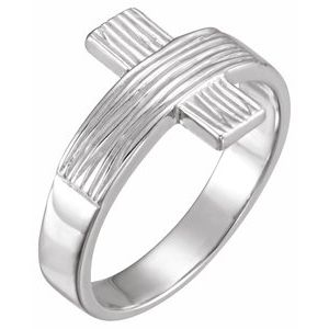 14K White The Rugged Cross® Chastity Ring Size 10