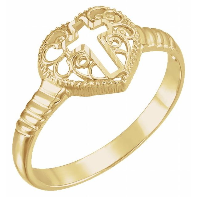 14K Yellow Cross Heart Ring
