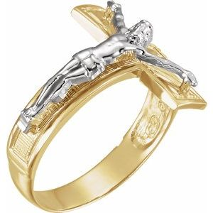 14K Yellow/White Crucifix Ring
